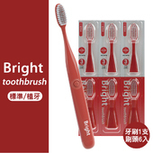 《韓國Bright白立得》音波振動牙刷(1入)+標準/植牙刷頭(6入)(紅色)