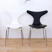 《頂堅》高級皮革椅面(金屬鍍鉻鋼管腳)鯊魚頭餐椅/工作椅/洽談椅/會客椅(二色可選)(黑色)