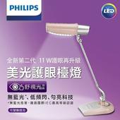 《飛利浦PHILIPS》新一代11W美光廣角護眼LED檯燈(粉色)