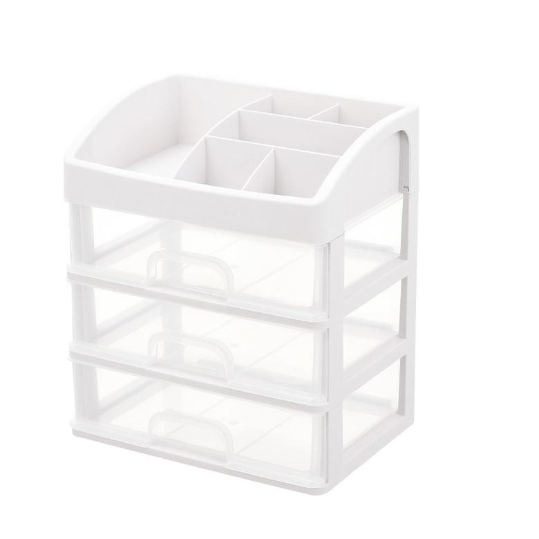 《日式》透明抽屜三層收納盒 多用途 護膚品 化妝品 雜物收納(23.5X17X20cm)