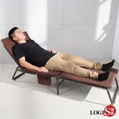 LOGIS 鋼管強化折疊床 單人床 午休床 陪客床 三折床 收納袋 午睡床 家用 露營 躺椅 睡椅 辦公室【Y008】(咖啡)