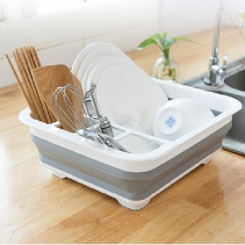 《多功能》可折疊瀝水碗架 餐具架 方型 便攜(36.5X31.5X12cm)