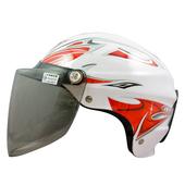 《GRS》雙鉤附鏡輕便雪帽 K-077(白紅)