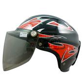 《GRS》雙鉤附鏡輕便雪帽 K-077(黑紅)