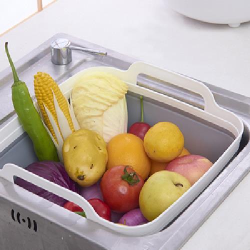 《多功能》可折疊蔬果瀝水籃 洗菜籃 收納籃 便攜(31.5X30.5X20cm)