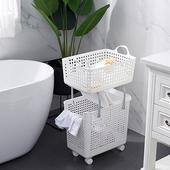 《多功能》可疊加附輪洗衣籃-二層