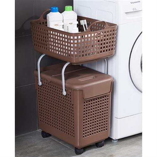 《多功能》可疊加附輪洗衣籃-二層 收納籃 洗衣籃 可移動 44X28X75cm(咖啡色)