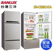 《SANLUX 台灣三洋》528公升三門變頻電冰箱SR-C528CV1A(含拆箱定位)(閃耀銀Q)