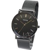 《WY威亞》簡約潮流米蘭黑帶中性錶-銀
