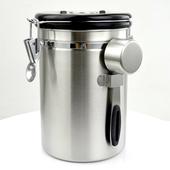《304不鏽鋼》密封咖啡儲物罐 排氣設計 保鮮 防潮(1500ml)