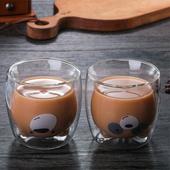 動物造型雙層隔熱玻璃杯 款式隨機(270ml)