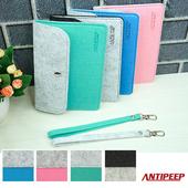 《ANTIPEEP》極簡時尚厚版手提小包/手機包/護照包(藍綠+灰)