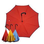 【Kasan 晴雨傘】防風反向上收式雨傘(紅藍)