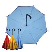 【Kasan 晴雨傘】防風反向上收式雨傘(藍紫)