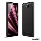 《YANGYI揚邑》Sony Xperia 10 拉絲紋碳纖維軟殼散熱防震抗摔手機殼(黑)