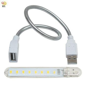 《月陽》USB超亮8LED4W燈檯燈閱讀燈小夜燈手電筒送蛇頸延長線(HL8SL)(黃光)