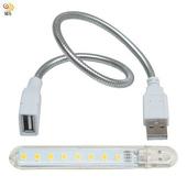 《月陽》USB超亮8LED4W燈檯燈閱讀燈小夜燈手電筒送蛇頸延長線(HL8SL)(白光)