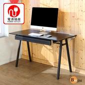 《BuyJM》馬鞍皮面附插座抽屜A字工作桌/電腦桌/寬120cm(黑色)