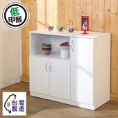 《BuyJM》低甲醛防潑水三門廚房櫃/收納櫃(白色)