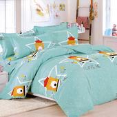 加大四件式印花兩用被床包組-小清新