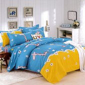 《【Indian】》雙人四件式印花兩用被床包組-童趣無限(童趣無限)