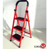 LOGIS|三階梯 安全折疊梯 工具梯 摺疊梯 家用梯 A字梯 防滑梯 樓梯椅 鐵製梯子【TT-R3】(紅)