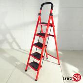 LOGIS|五階梯 安全折疊梯 工具梯 摺疊梯 家用梯 A字梯 防滑梯 樓梯椅 鐵製梯子【TT-R5】(紅)