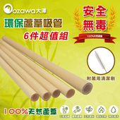 《OZAWA 大澤》天然環保蘆葦吸管 (附清潔細刷,共6件組)(4包)