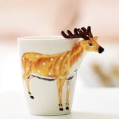 立體動物馬克杯 尺寸:9.8*11.2CM/容量:400ml(鹿)