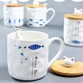 貓與魚木蓋馬克杯-尺寸:9.5cm*8.9cm(含蓋)/容量:350ml(上方一條魚)