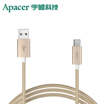 《Apacer宇瞻》DC111 Type-C to USB2.0 傳輸線_金色 (1m編織線)