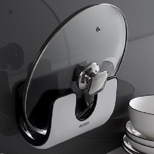 無痕壁掛式鍋蓋架(黑 20.2X16.2cm)