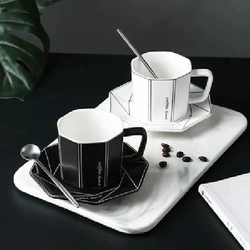 菱形咖啡杯組-240ml(黑)