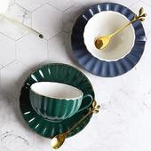 波浪咖啡杯組-240ml(深藍)