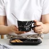 大理石紋咖啡杯組-250ml(黑)