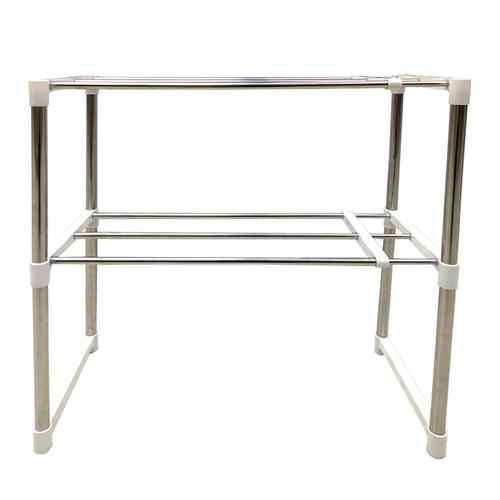 《不鏽鋼》雙層伸縮置物架(寬24.5x高64x長47.5~87cm)
