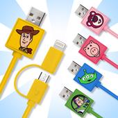 《玩具總動員系列》Micro & Lightning 正版授權 二合一充電線(胡迪)