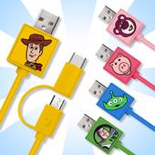 《玩具總動員系列》Micro & Type C 正版授權 二合一充電線(胡迪)