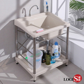 【LOGIS】 72CM*60CM不鏽鋼ABS塑鋼水龍頭洗衣槽 洗手槽 洗手台 A1008-ST(米白)