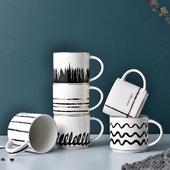 輕奢線條馬克杯 款式隨機出貨(黑 尺寸9.5c*8.8cm/容量:450ml)