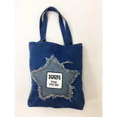 韓版文藝 淺藍刺繡星星牛仔袋 購物袋 牛仔帆布包(32*38cm/丹寧色 隨機出貨)
