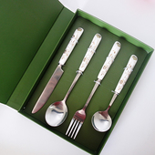 陶瓷304不鏽鋼刀叉四件套組(金色(餐刀+大圓勺+大叉+短小圓勺))