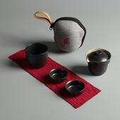 窯變陶瓷快客杯 小杯*2大杯*1茶壺*1便攜袋*1(黑)