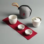 窯變陶瓷快客杯 小杯*2大杯*1茶壺*1便攜袋*1(白)
