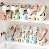 可調式雙層收納鞋架4入組 顏色隨機(25.5X10X17cm)