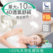 《格藍傢飾》纖柔4D透氣兩用乳膠床墊-10CM(單人加大)
