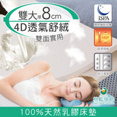 《格藍傢飾》纖柔4D透氣兩用乳膠床墊-8CM(雙人加大)