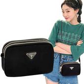 《幸福揚邑》潮流時尚簡約三層拉鍊兩用手拿手提肩背斜背小包手機包相機包-橫包(黑)