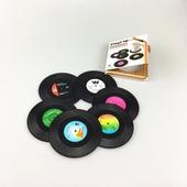 創意復古CD唱片杯墊 -六入組(直徑10.5cm厚0.18cm)