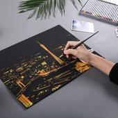 城市DIY刮畫(附刮筆)(金色41X28cm款式隨機出貨)